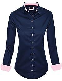 HEVENTON Hemdbluse Bluse Damen Langarm in Weiß Größe 34 bis 50 - elegant  und hochwertig c4afa61936