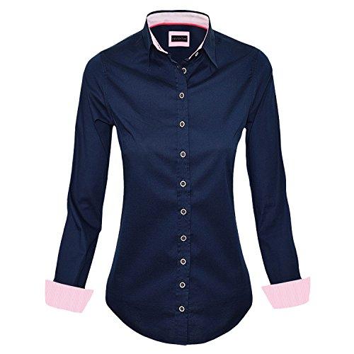 HEVENTON Hemdbluse Bluse Damen Langarm in Navy Größe 34 bis 50 - elegant und hochwertig Farbe Navy, Größe 48