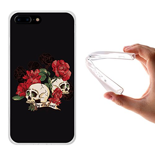 iPhone 7 Plus Hülle, WoowCase Handyhülle Silikon für [ iPhone 7 Plus ] Schädel mit Diamanten Handytasche Handy Cover Case Schutzhülle Flexible TPU - Transparent Housse Gel iPhone 7 Plus Transparent D0143