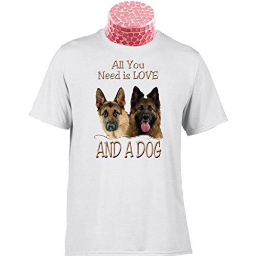 GERMAN SHEPHERD DOG TEE SHIRT, Alsatian Gift. All You Need Is Love. And A Dog. Fantastic gift for people who love these wonderful GSD pets