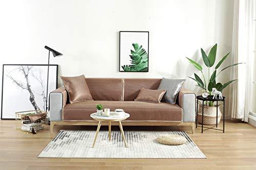 HUOLEO Sofabezug, Sofa Handtuch Sommer Volltonfarbe Waschbar Seide aus Seide Mat Für Wohnzimmer-Twill-Kaffee-110 * 240 -