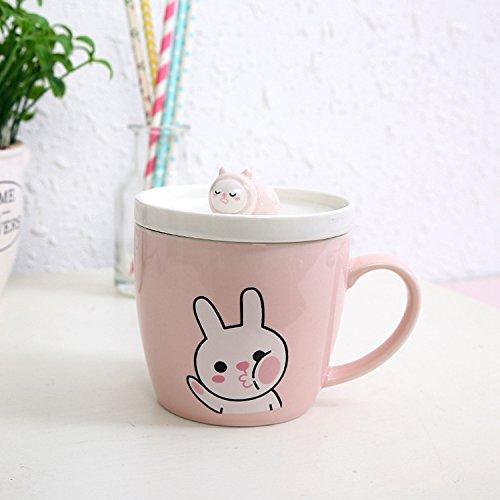 Ldhome Versione Coreana È Incantevole Con Una Coppa In Ceramica Carica Marco Tazza Piccola E Incantevole Fresco Studente Cartoon Cup Dono 320Ml Pink