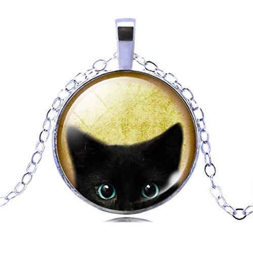 Lebendige Katze Anhänger Crystal Zeit Edelstein Halskette Für Frauen Abend Partei Schmuck (Co Kostüme Partei)
