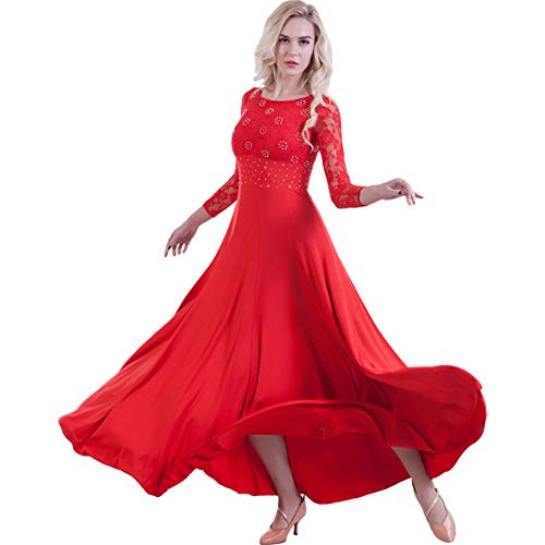 G-Like Tanzabend Ballkleid Tanz Kleider - Professionelle Moderne Ballsaal Tänze Latein Walzer Tango Swingfox Quickstepp Trikot Accessoires Kostüm Spitzen Ärmel Tanzkleidung für Damen (rot, XL) (Tanzabend Kostüme Für Mädchen)