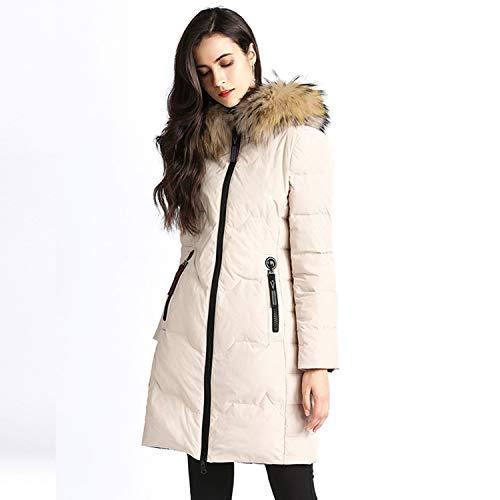 YXXHM- Lange Pelzkragen Lange Daunenjacke Frauen, Winter Doppelseitige Daunenjacke Dicken Mantel