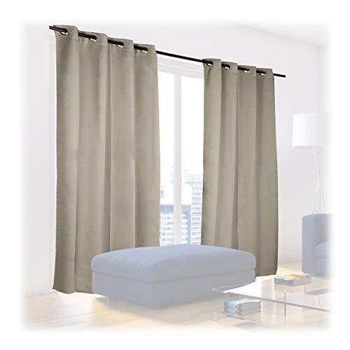 Relaxdays - coppia di tende oscuranti con occhielli, tinta unita, lavabili, 245 x 135 x 0,5 cm, colore: sabbia