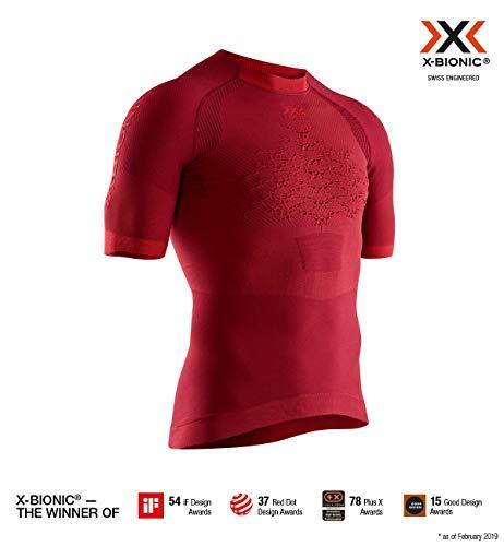 x-bionic the trick 4.0 run shirt short sleeve men, uomo, namid red/sunset orange, m