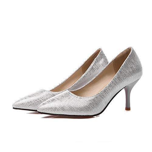 MENGLTX High Heels Sandalen Fashion Platform Pumps Schuhe Mit Hohen Absätzen Heels Spitz Plateauschuhe Damen Hochzeit Prom Schuhe Big Size 34-45 7 Silber Super Platform High Heel Schuh