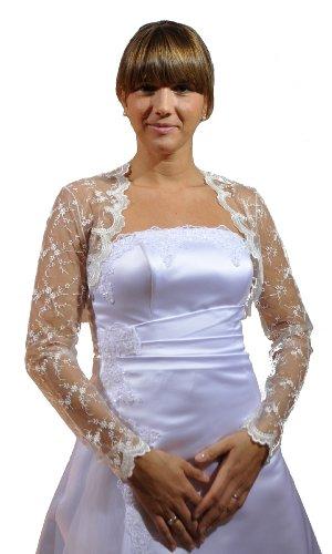 Brautjacke-Bolero, Spitze, langarm, ivory, Größe 36