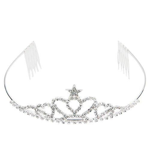 Ecloud Shop® Diadema Cabello bañado de plata circonita Corona Moda Novia Boda Estrella