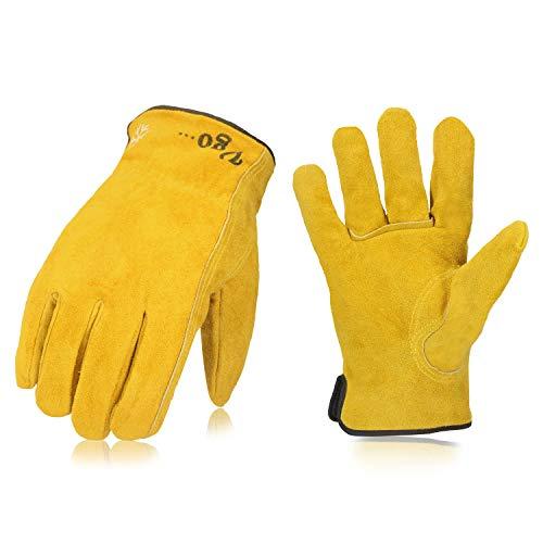 Vgo 3 Paare über 0℃, Fleece von 3M Thinsulate C40, Winter Rindspaltleder Arbeitshandschuhe, Tiefkühl (10/XL, Gold, CB9501F)