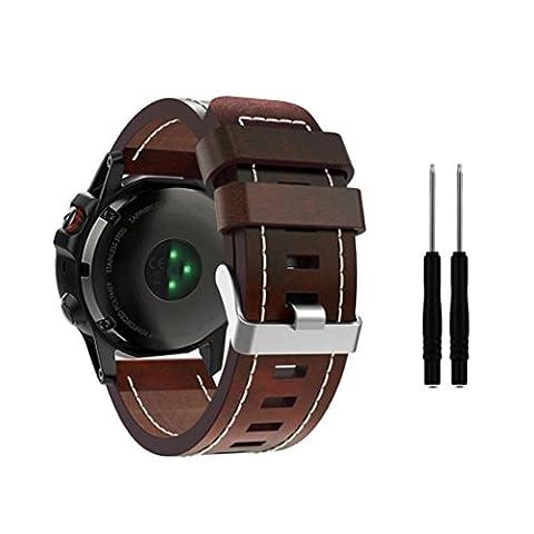 Pour Garmin Fenix 5 x, Gaddrt de luxe bracelet en cuir de remplacement de la bande montre avec des outils (Marron)