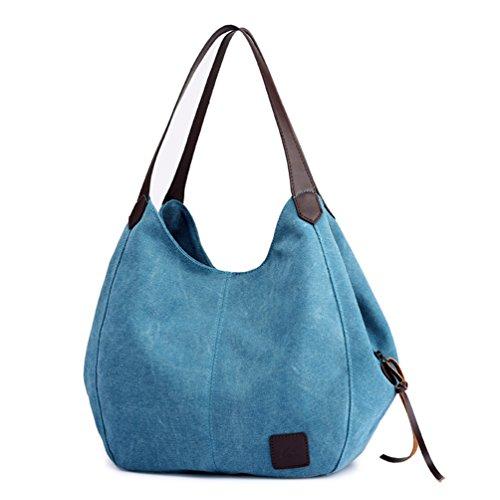 Henkeltasche Beuteltasche Shopper Segeltuch Vintage Freizeit Stylisch Blau ()
