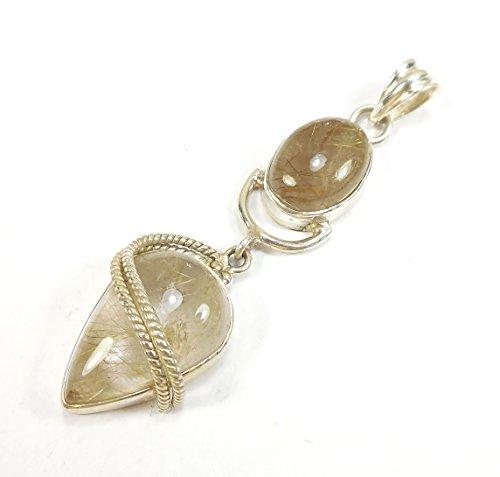 Beautiful Things for Women Golden Rutilated Quartz Gemstone 925 Sterling Silver Pendant Goldmiths London UK Hallmarked