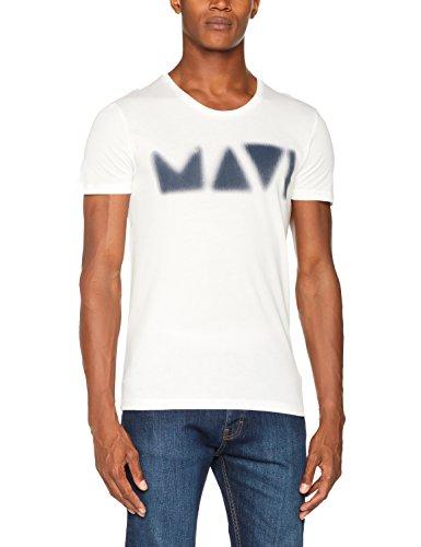 Mavi Herren T-Shirt Printed Tee Weiß (Antique White 23851)