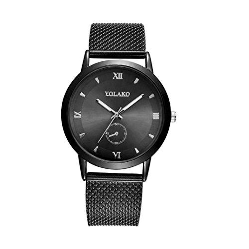 Armbanduhr, erthome Männer Frauen Armbanduhr modische hohe Härte Glas Spiegel Mesh Gürtel Uhr (Schwarz)