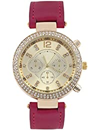 KMS Magenta Round Dial Stylish Women Analog Watch