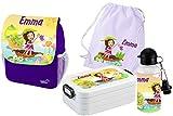 Mein Zwergenland Set 5 Kindergartenrucksack mit Brotdose Maxi, Turnbeutel Baumwolle und Flasche Happy Knirps Next Print mit Name Mädchen, 6L, Lila