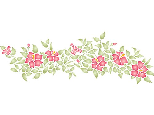 Hibiskus Schablone,-48x 16,5cm-wiederverwendbar Blumen Bordüre Wand-- Vorlage, auf Papier Projekte Scrapbook Tagebuch Wände Böden Stoff Möbel Glas Holz etc. - Papier Hibiskus-blumen