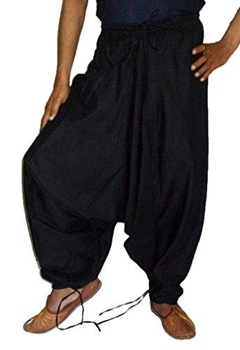 Sarjana Handicrafts - Pantaloni da uomo in cotone Harem Genie Black X-Large