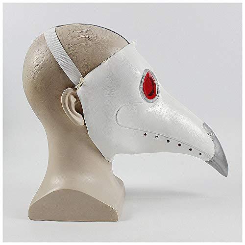 YaPin Neuheit Steampunk Pest Vogel Maske Schnabel Maske mittelalterlichen Pest Doktor Rollenspiele (Color : White)