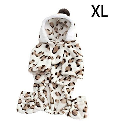 SinceY hundemantel Winter, Muster-Herz/Leopard-kalte Wetter-Mantel-Hundekleidung - Vier Füße mit Hoodie im bequemen SAMT-Pyjama-Mantel-Overall-Winter- Welpen-Kleidung warme gemütliche Winterjacken