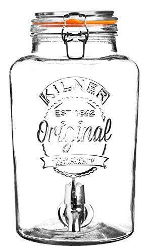 ROUND Bügelverschluss Getränkespender, 8 Liter, Glas/Edelstahl/Kunststoff, Maße: 28 x 21 x 36,3 cm
