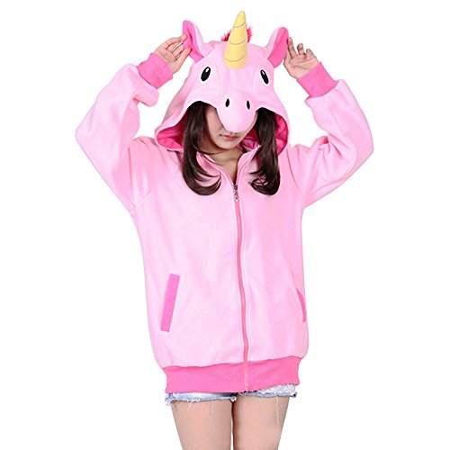 Einhorn Kapuzenpullover Damen Pullover Sweatshirt mit Kapuze Erwachsene Kapuzenjacke Hoodie Kapuzenpulli Kostüm (M: Brust112 cm passende Höhe158-166cm, Rosa)