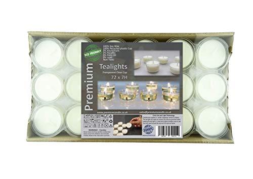 Premium 7 a 8 horas de largo paquete de tiempo de combustión de 72 transparente claro taza té luces eco-friendly tealights luces de noche no perfumadas velas de alta calidad cera de soja blanca