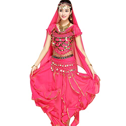 (TianBin Volkstanzkostüm Tanzkostüm Bauchtanz-Kostüm Set für Damen Pailletten Top Volant-Rock (Rose#5, One Size))