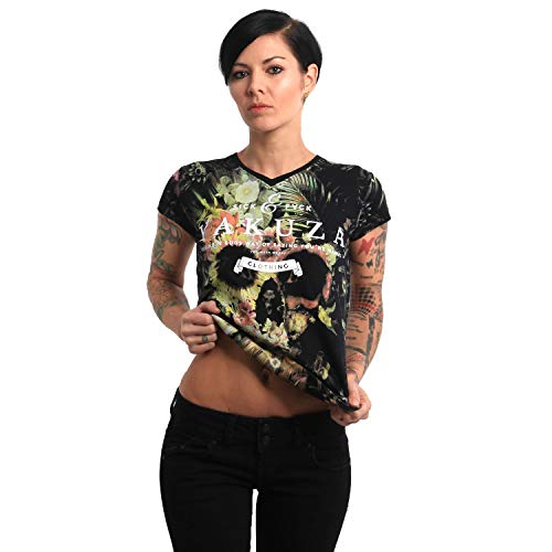 Yakuza Damen Flower Skull V-Neck T-Shirt