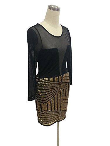 Blansdi Femmes Col Rond Manches Longues Perspective Gaze Crops Sexy Bodycon Mini Robe de Clubwear Noir