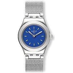 Swatch Women's Steel Bracelet & Case Swiss Quartz Blue Dial Analog Watch YSS299M