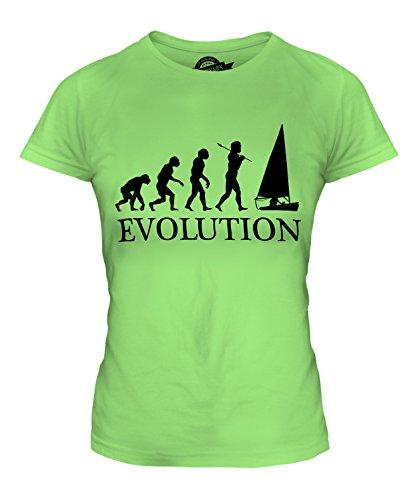 CandyMix Regattasegeln Segeln Evolution Des Menschen Damen T Shirt, Größe X-Small, Farbe Limettengrün