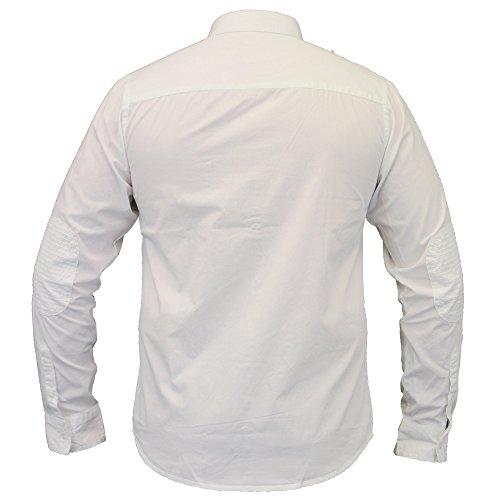 Herren Shirt Brave Soul Kariert Schottenkaro Kragen Langärmlig Baumwolle Knopf Fashion Bianco - 230CAMUS