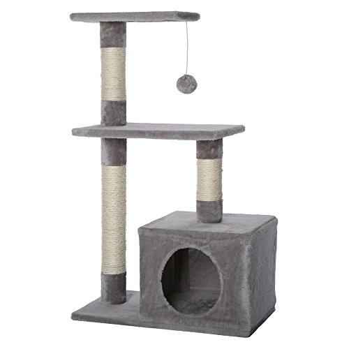 dibea KB00253 Kratzbaum, Kletterbaum für Katzen (Höhe 80 cm), hell-grau - 2