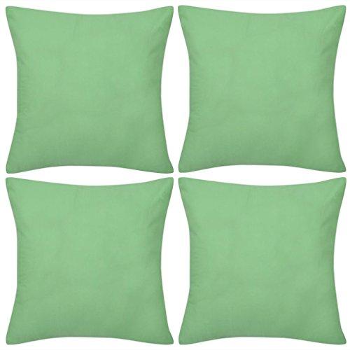 vidaXL Ensemble de 4 Taies d'oreiller Housse de Coussin Vert Pomme en Coton 50 x 50 cm