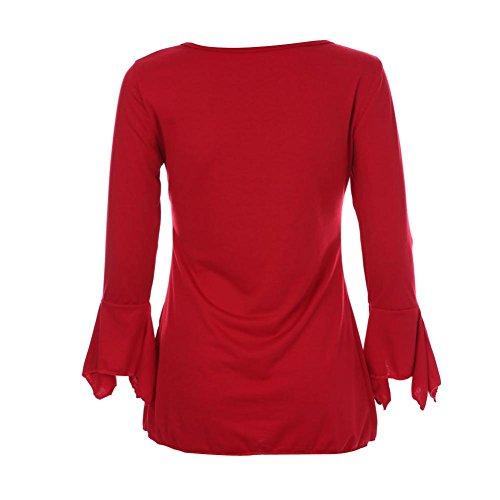 MuSheng TM Femmes T - Shirts Col V Bouton de Veste Mince Rouge