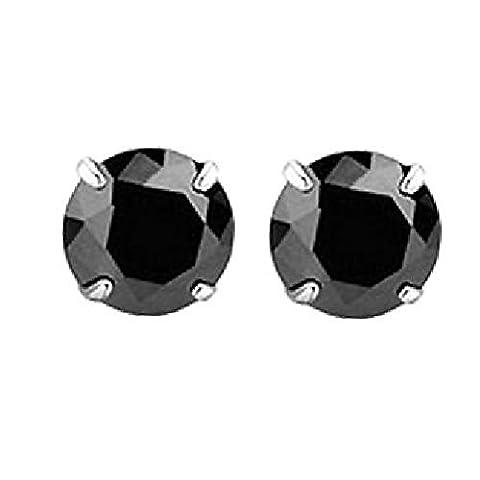 Hommes de boucles d'oreilles clous en argent 925fabriqué avec diamant noir cristal Swarovski 4mm 5mm 6mm 7mm
