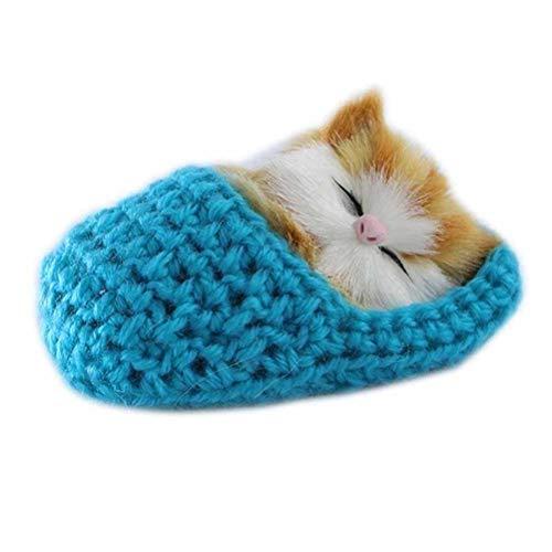 SUPVOX Plüsch Katze in Hausschuhe Baby Plüschtier Kuscheltier Stofftier Weihnachten Geschenk für Mädchen Jungen Kinder Haustier Katzenspielzeug (Blau) - Eva-plüsch
