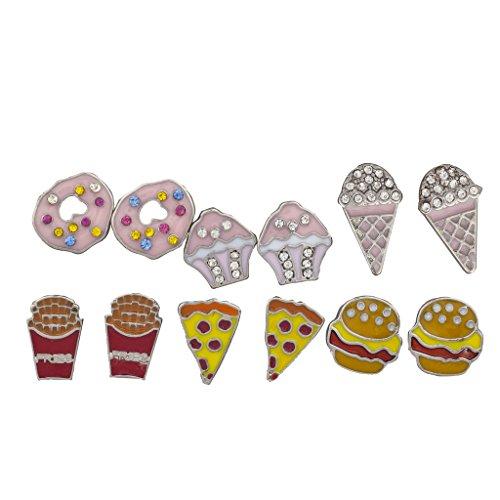 Lux accessori argento dolci e cibo spazzatura-Multi Orecchini Set 6pc