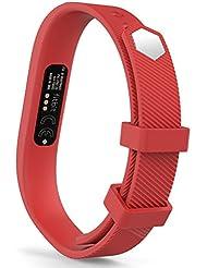 MoKo Fitbit Flex 2 Correa - Reemplazo de Silicona Suave Deportivo Sport Strap Band con Broches para Flex 2 Wireless Actividad Pulsera Brazalete ( NO INCLUYE EL RASTREADOR ), Fits 128mm-180mm, Rojo, S