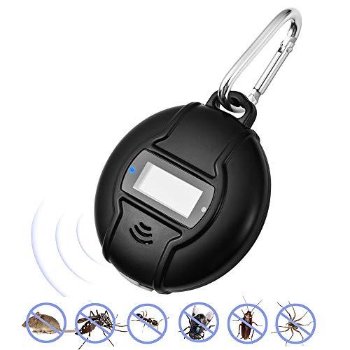 Fesjoy Portatile Repellente ad Ultrasuoni, Solar Powered e USB All'aperto Repellente per Zanzare per Scarafaggio, Ragno, Formica, Topo, Cimici e Pulci