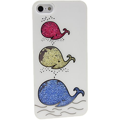 AOA Cases® Deluxe con brillantini e strass colorati in movimento-Cover/custodia rigida posteriore per, PLASTICA, Fragola, Apple iPhone 5 5S Whale