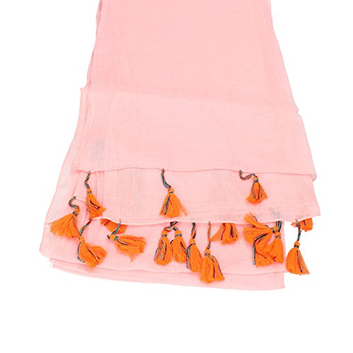 NALì sciarpa pashmina donna rosa verde cipria cotone (Rosa)