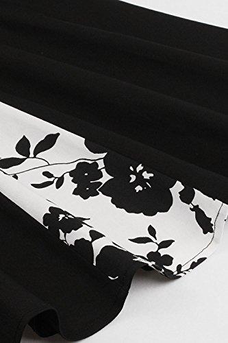 Babyonline d.r.e.s.s Damen 50er 1/2 Arm V-Ausschnitt Retro Swing Cocktailkleid mit Bulmenmuster Knielang S~5XL Schwarz-Weiß