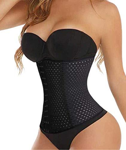 Tingsu da donna pancia cintura dimagrante shapewear traspirante vita formazione cincher, black, medium