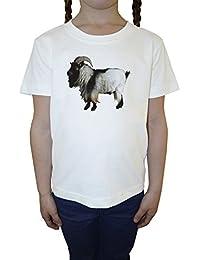 Cabra Blanco Algodón Niña Niños Camiseta Manga Corta Cuello Redondo Mangas White Girls Kids T-shirt