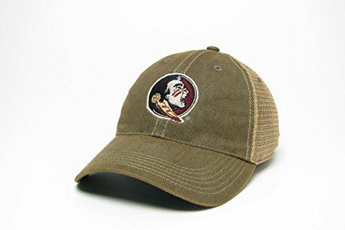 Florida State Seminolen Hat Verstellbare Trucker Style Cap mit Main FSU Logo-3Farben-Granat, khaki, grau, grau (Seminoles Florida State Hat)