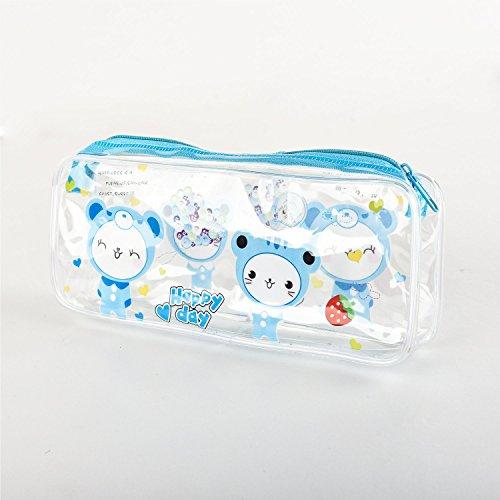 Preisvergleich Produktbild Arpan Federmappe transparent für Prüfungen PVC farbig Reißverschluss für Jungen und Mädchen 20x 7cm Blue Zip